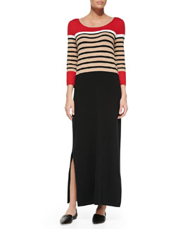 Joan Vass Long Striped Dress with Slits, Petite
