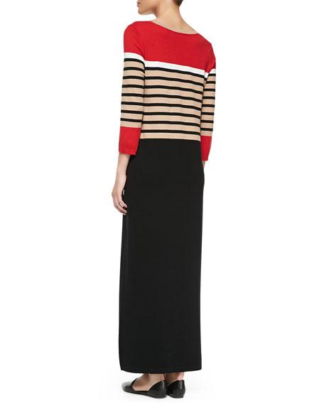 Long Striped Dress with Slits, Women's