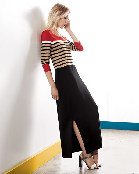 Long Striped Dress with Slits, Women's