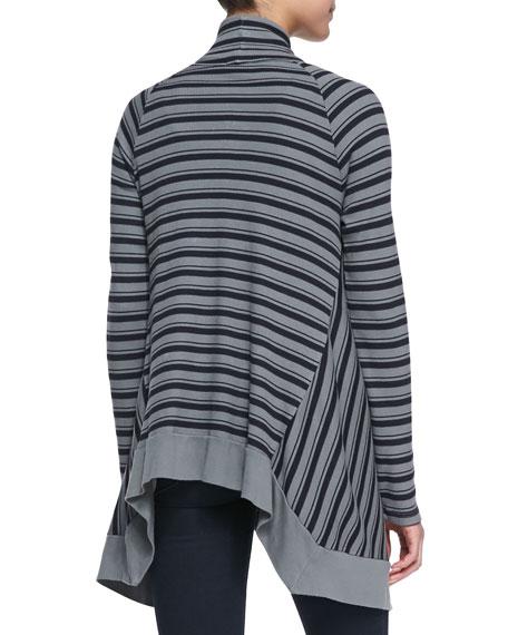 Striped Cascading Thermal Cardigan, Asphalt