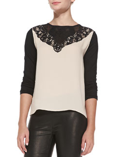 Diane von Furstenberg Colorblock Lace-Yoke Top