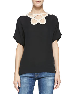 Diane von Furstenberg Short-Sleeve Cutout-Neck Top