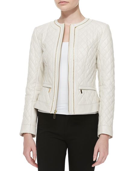 NM EXCLUSIVE Quilted Leather Jacket w/Chain Trim : neiman marcus quilted leather jacket - Adamdwight.com