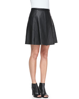 NM EXCLUSIVE Lambskin Leather A-line  Skirt