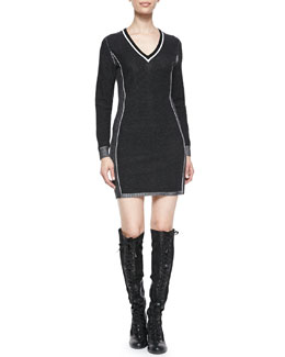 Rag & Bone Taylor Metallic-Trim Sweater Dress