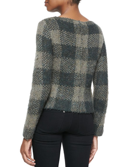Cammie Check-Pattern Knit Sweater