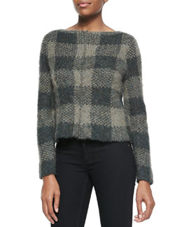 Rag & Bone Cammie Check-Pattern Knit Sweater