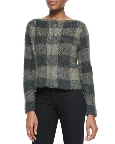 Rag & Bone Cammie Check-Pattern Knit Sweater