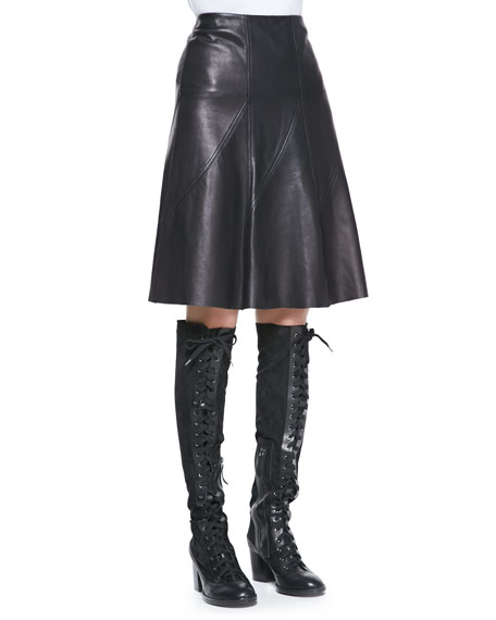 Kelly A-Line Leather Skirt