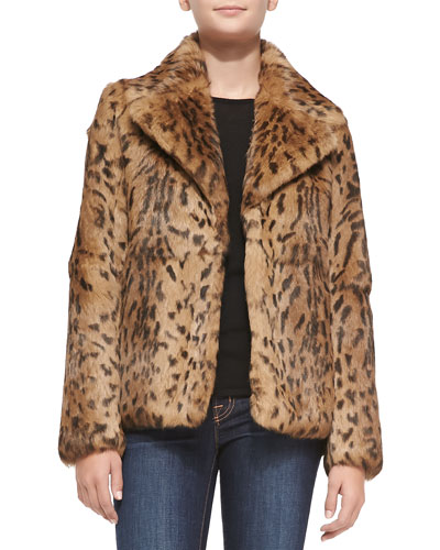 Neiman Marcus Leopard-Print Rabbit Fur Jacket