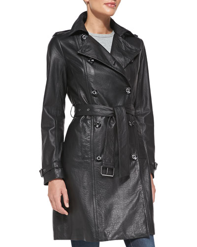 Neiman Marcus Double-Breasted Leather Trench Coat