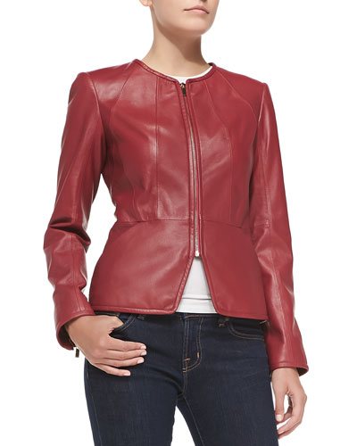 Neiman Marcus Zip-Cuff Pebbled Leather Jacket
