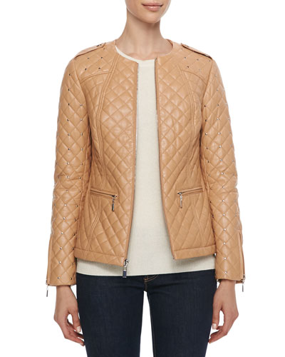 Neiman Marcus Quilted & Studded Leather Jacket