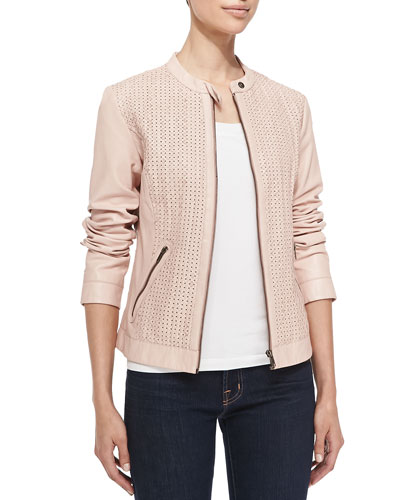Neiman Marcus Woven & Perforated Leather Jacket