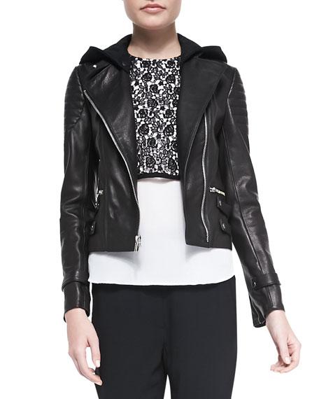 Blake Leather Moto Jacket w/Removable Hood