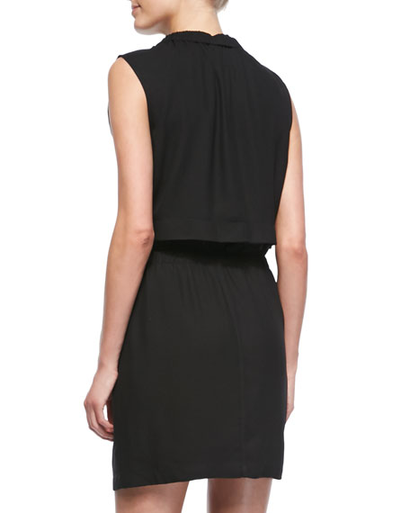 Common Blouson-Top Drawstring Dress