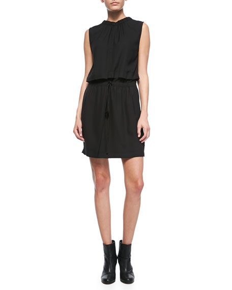 Common Blouson-Top Drawstring Dress