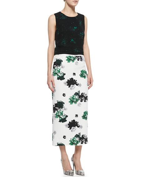 Bell Floral-Print Silk Midi Skirt