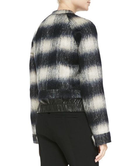 Mohair Plaid Bomber Jacket