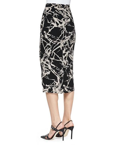 Bell Long Floral-Print Pencil Skirt