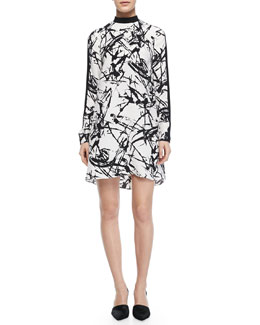 A.L.C. Isley Printed Mock-Neck Dress