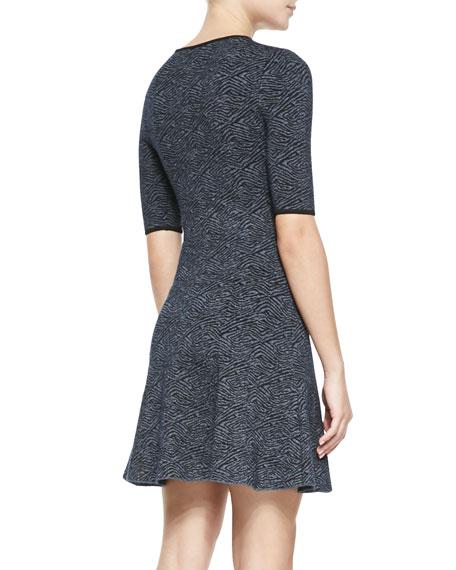 Deele Print Half-Sleeve Flounce Dress