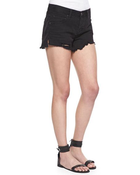 Sharkbite Denim Shorts, Black