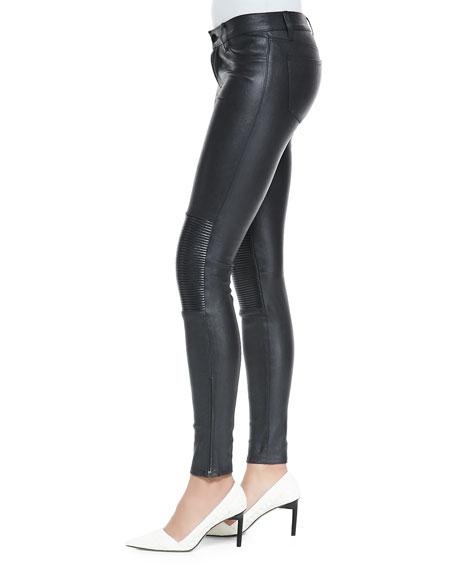 Nicola Zipper-Cuff Leather Moto Pants