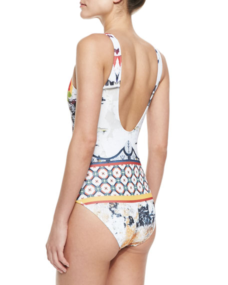 Cigar Mixed-Print One-Piece Swimsuit