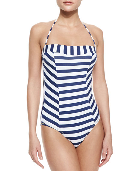 Striped Metallic-Trim One-Piece Swimsuit