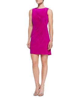 Shoshanna Sleeveless Luxe Diagonal Pleat Dress