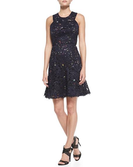 Sleeveless Confetti Lace Overlay Dress