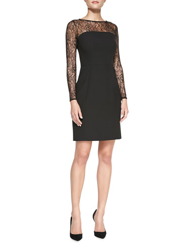 Shoshanna Natalia Lace-Yoke Sheath Dress