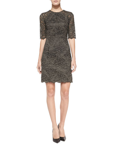 Shoshanna Beverly Half-Sleeve Lace Sheath Dress