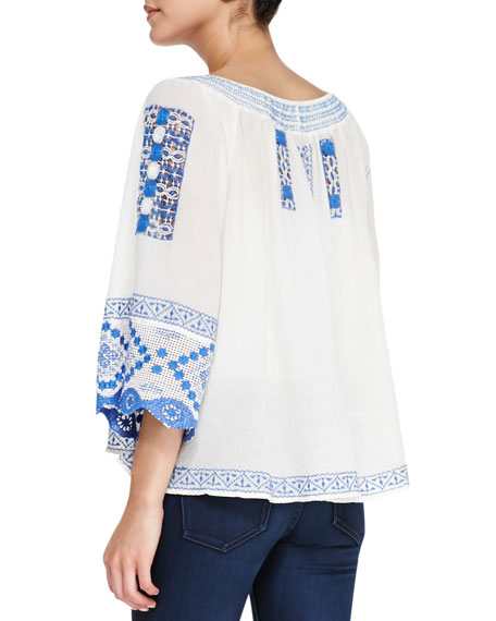 Silver Springs Tapestry Embroidered Swing Top, Ivory/Blue