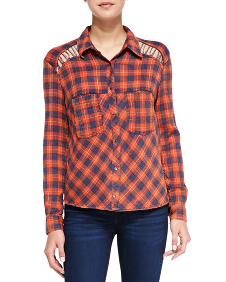 Cutout Lace-Up Button-Front Plaid Blouse, Denim/Orange