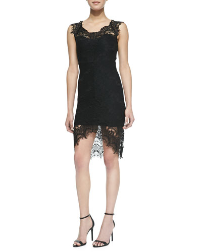Free People Peekaboo Scalloped Lace Slip Dress, Black