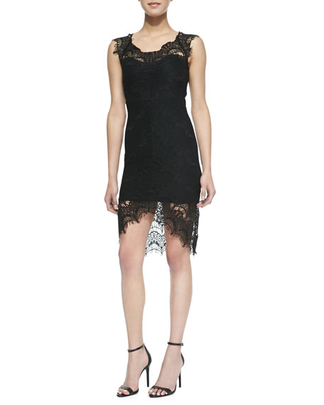 Peekaboo Scalloped Lace Slip Dress, Black