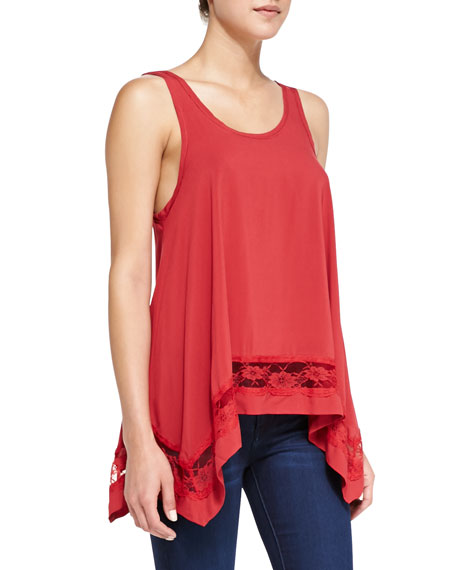 Lace-Inset Handkerchief Tank, Red