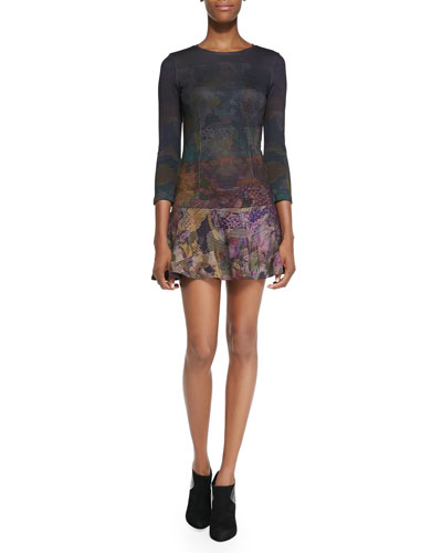 French Connection Ombre Geometric Floral Print Flounce Dress