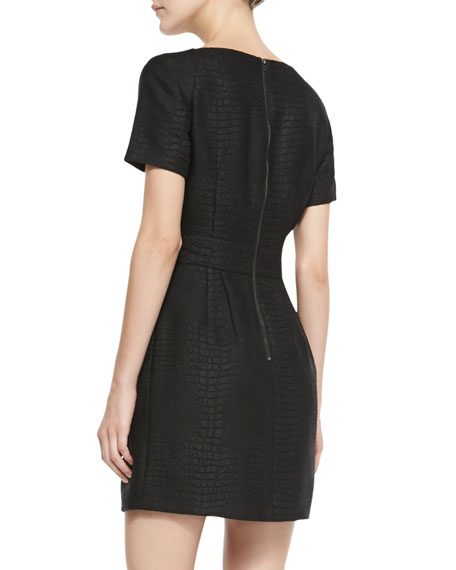 Croc-Embossed Pleated Dress, Black