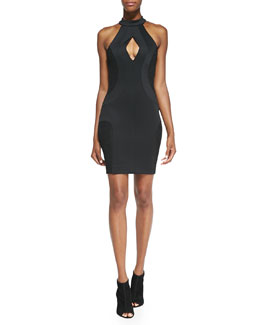 French Connection Scubalicious Cutout Body Conscious Dress, Black