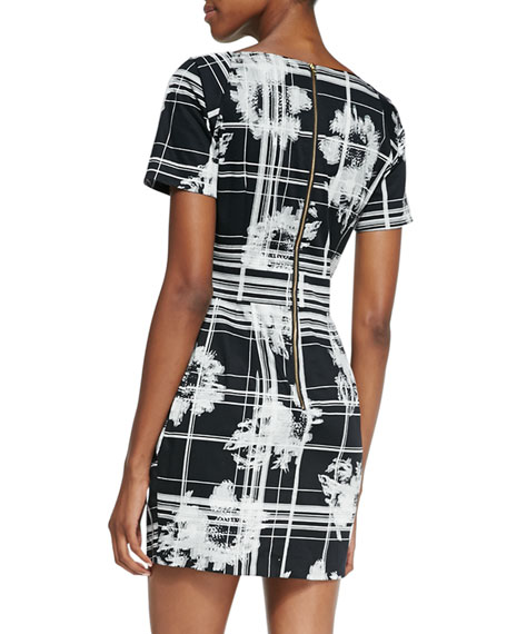 Wilderness Check Pleated Dress, Black/White
