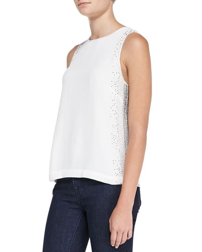 French Connection Glitter Dash Beaded Top, Winter White