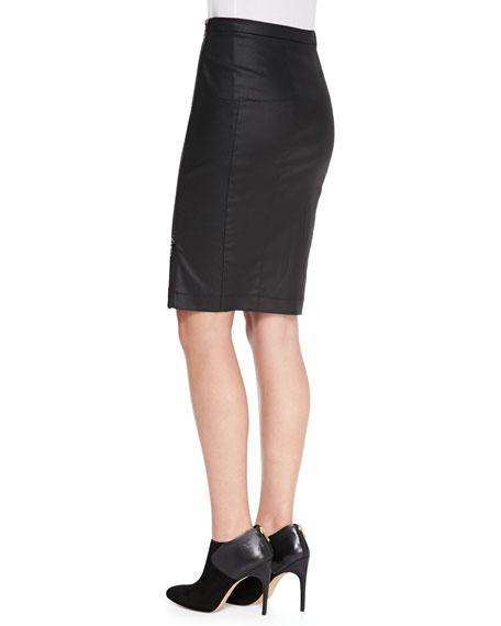 Gazelle Sateen Pencil Skirt, Black