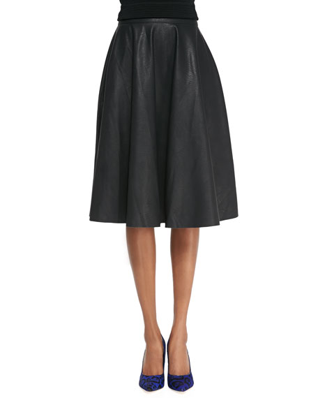 Faux-Leather Godet-Pleated Skirt, Black