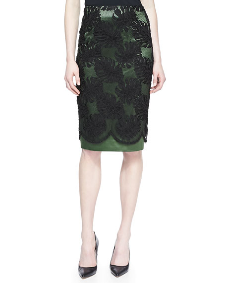 Corded Lace Overlay Skirt