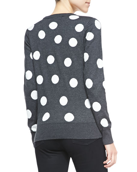 Polka-Dot Mouse-Detailed Sweater, Charcoal/White