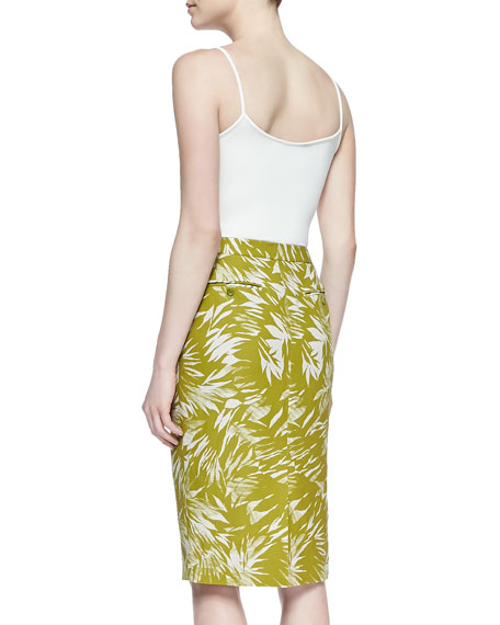 Botanical Linen-Blend Trouser Skirt