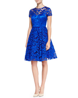 Ted Baker Caree Floral Lace Fit-And-Flare Dress, Blue